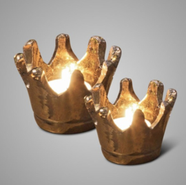 SET OF 2 CROWN CANDLECUP GOLD D. 13-10 H.9-8
