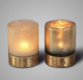 SORT. OF GOLDEN TEALIGHT WITH GOLDPLATED WOODENBASE 2021 L