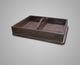 WOODEN TRAY DOUBLE 60X45X15 CM