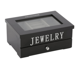 Jewellery box small Avantgarde black with silver letters