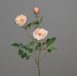 ROSE SPRAY WITH 2 FLOWERS AND ONE BUD, 70 CM, PEACH