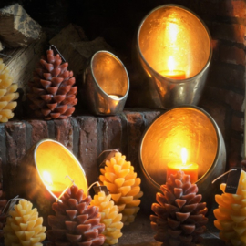 SET OF 3 COSY CANDLECUP DELUXE GOLD S D.20-16-12 H.24-19-15