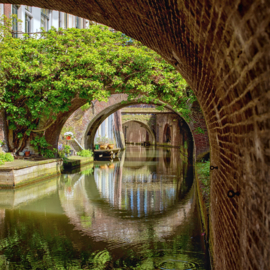 Vierkante print: De bruggen van de Kromme Nieuwegracht