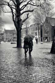 Aluminium Dibond Print 'Stel met paraplu op het Domplein'