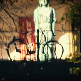 Print 'Reflecties van een fiets in de Oudegracht'
