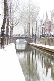 Aluminium Dibond Print 'Nieuwegracht in de sneeuw'