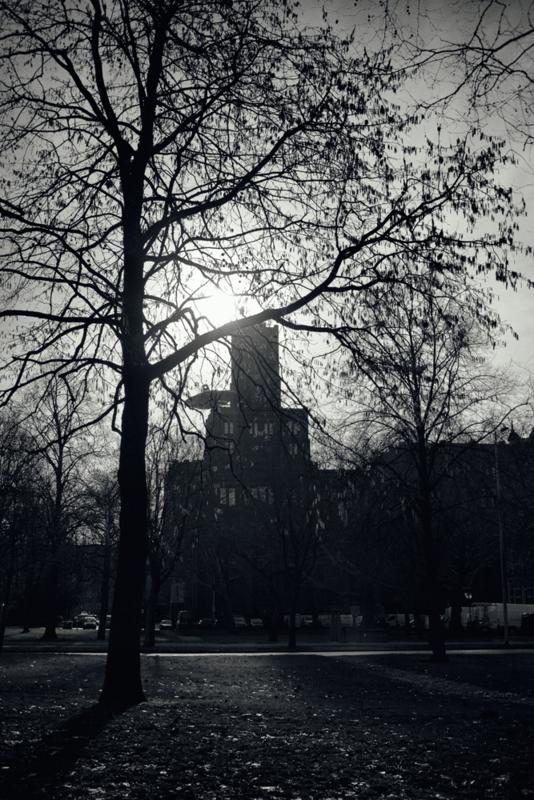 Ansichtkaart: De Inktpot in het tegenlicht te Utrecht
