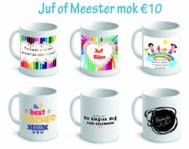 Gepersonaliseerde Juf of Meester mok/tas