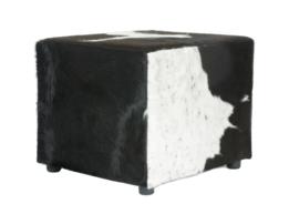 Koeienhuid Poef zwart wit 50 x 50 cm