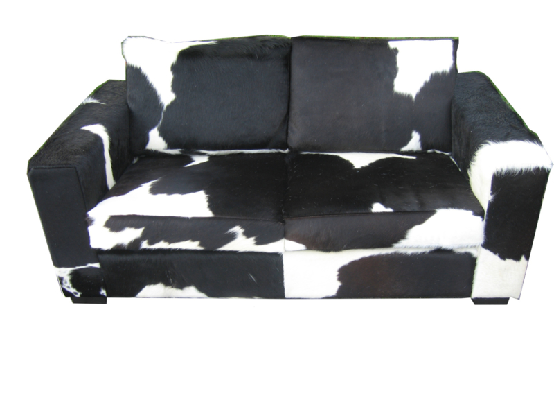 2 Zits Slaapbank Zwart.Koeienhuid Sofa Cube 2 Zits Zwart Wit Bank Cows More
