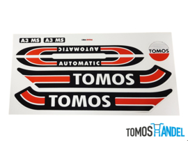 Stickerset Tomos S25 A3 rood / zwart classic