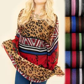 Dames sjaal - colsjaal  - luipaard/ patronen - 80 x 110cm