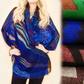 Dames sjaal - azteekse patronen - 100 x 180 cm