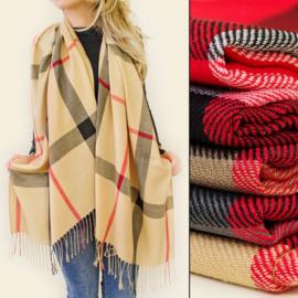 Dames sjaal - geruit met kwastjes - 70 x 170 cm