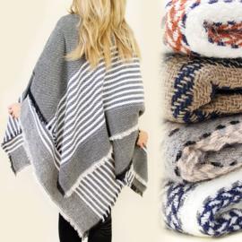 Dames sjaal - warm - visgraat - 136 x 136cm