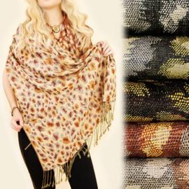 Dames sjaal - schilderachtig luipaardmotief - 100 x 180 cm