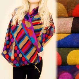 Dames sjaal - colsjaal - kleurrijke bollen/ strepen -  80 x 110  cm