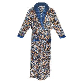 Fine Woman® Velours Badjas met zakken in panterprint - Blauw