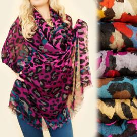 Dames sjaal - kleurrijk panterpatroon - 100 x 180 cm