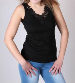 Toker dameshemd kant - zwart