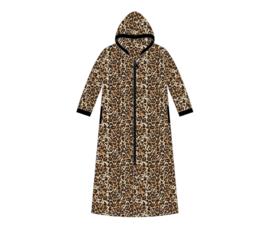 Fine Woman® Velours Badjas met rits en capuchon - Zwart