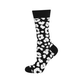 SOXO damessokken - zwart met witte vlekken