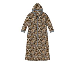 Fine Woman® Velours Badjas met rits en capuchon - Grijs