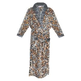 Fine Woman® Velours Badjas met zakken in panterprint - Grijs