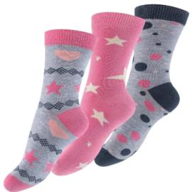 Meisjessokken - pink star - 3-pack
