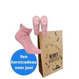 Boru wool socks - huissokken - roze in kerstverpakking