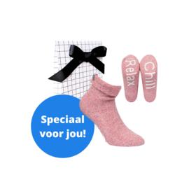 Boru wool socks - huissokken - roze in cadeauverpakking