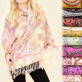 Dames sjaal - kleurrijk patroon - 100 x 180cm