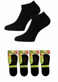Bamboo sneakersokken - zwart - 3-pack - met siliconen antislip hakbescherming