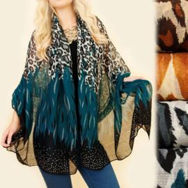 Dames sjaal - luipaard / glittersteen - 100 x 180cm
