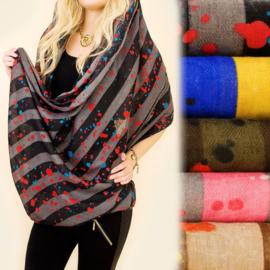 Dames sjaal - colsjaal - kleurrijke stippen -  80 x 110  cm