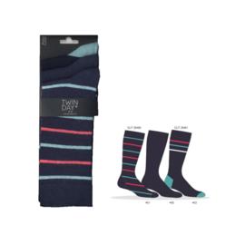 Twinday herensokken - gekleurde streep- 3-pack