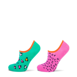 Yellow Moon kindersokken - leopard - groen/roze - blauw - 2-pack