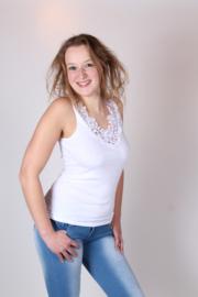 Toker dameshemd kant - wit  - 2-pack