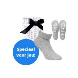 Boru wool socks - huissokken - grijs in cadeauverpakking