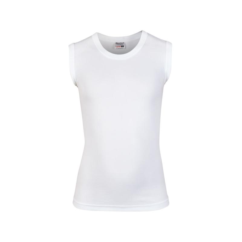 Beeren jongens shirt mouwloos ronde hals - wit - 3-pack