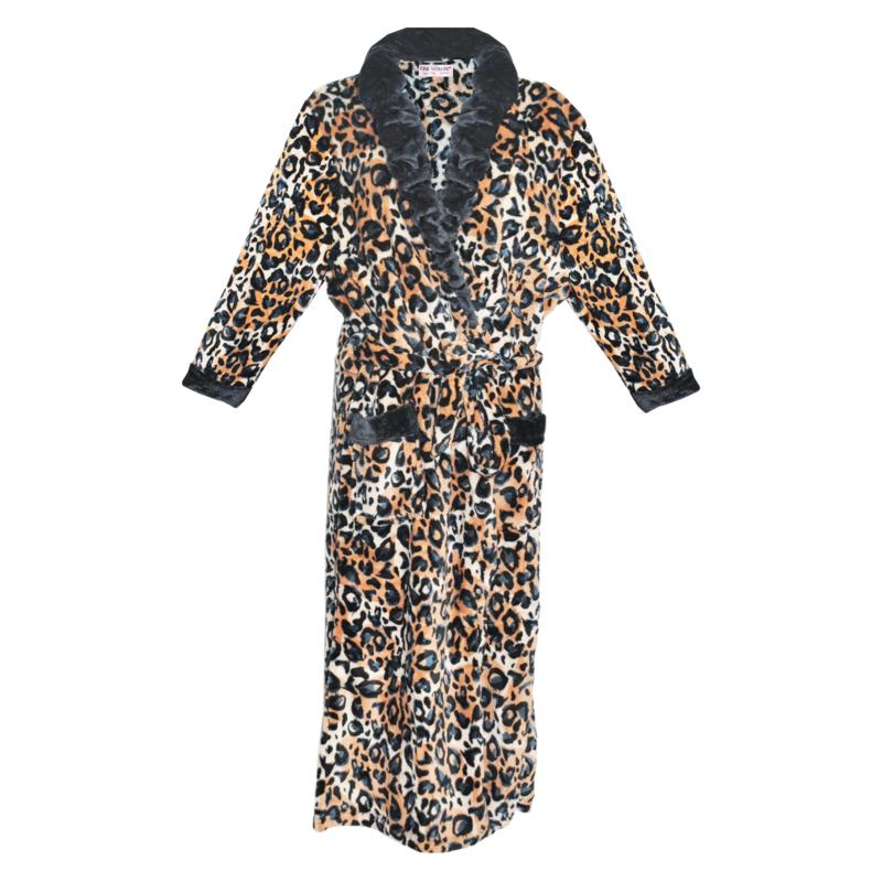 Fine Woman® Velours Badjas met zakken in panterprint - Zwart