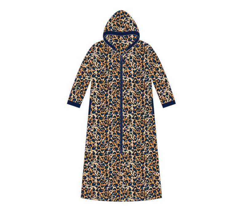 Fine Woman® Velours Badjas met rits en capuchon - Blauw