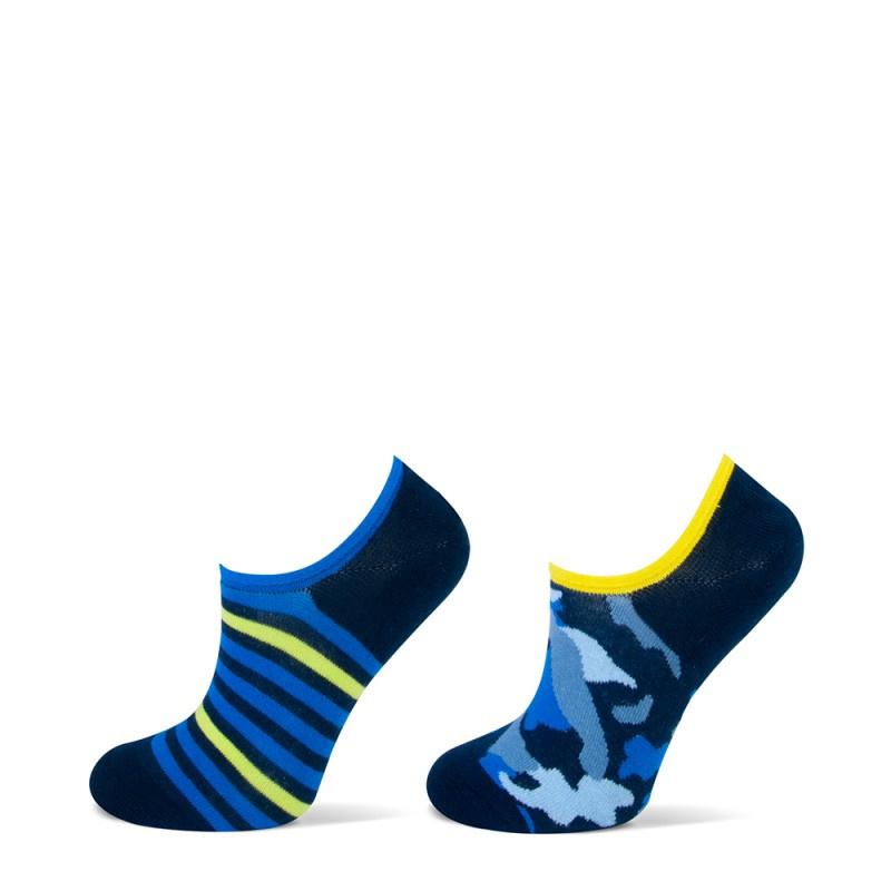 Yellow Moon kindersokken - streep/ camouflage - blauw - 2-pack