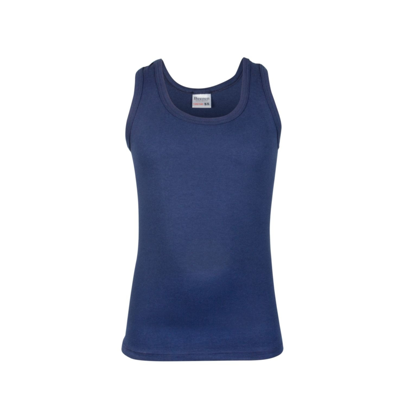 Beeren jongens singlet/ hemd  ronde hals - comfortfeeling - marineblauw - 3-pack