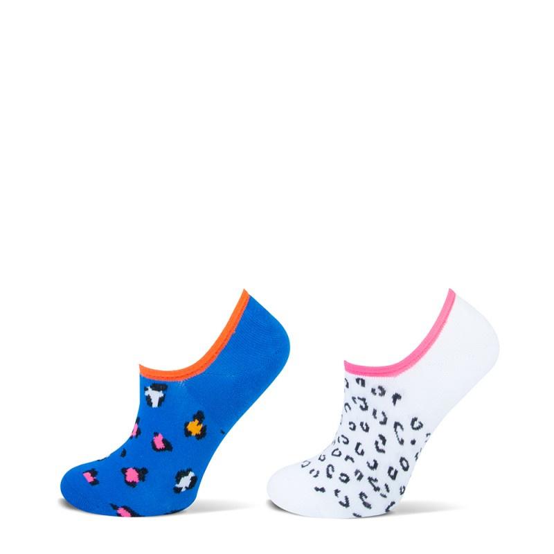 Yellow Moon kindersokken - leopard - wit/ blauw - blauw - 2-pack