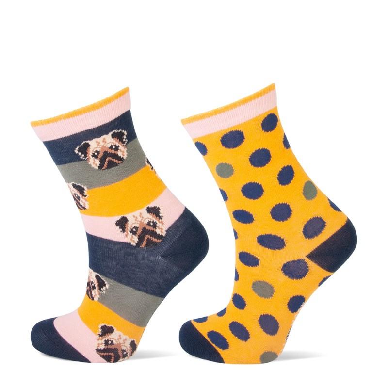 Yellow Moon kindersokken - hond, dots - 2-pack