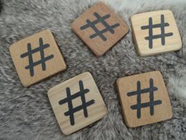 Houten hashtag 6x6cm