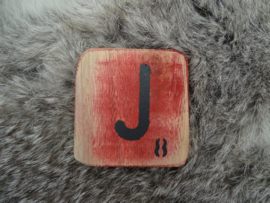 Houten Letter J 6x6cm