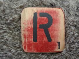 Houten Letter R 6x6cm