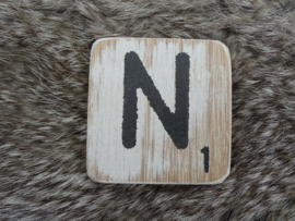 Houten Letter N 6x6cm
